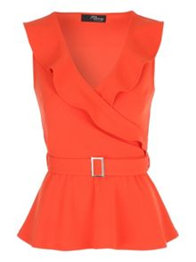 Jane Norman Belted Peplum Wrap Top
