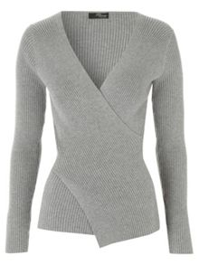 Jane Norman Grey Wrap Rib Jumper