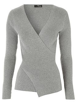 Grey Wrap Rib Jumper