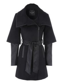 Jane Norman Black PU Zip Detail Coat