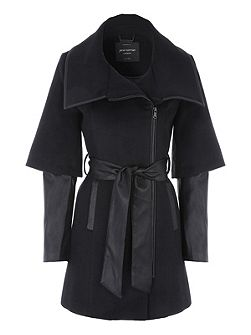 Black PU Zip Detail Coat