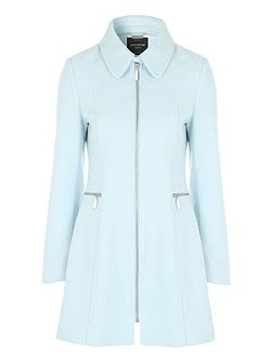 Blue Fitted Zip Coat