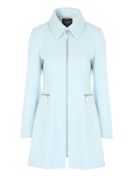 Jane Norman Blue Fitted Zip Coat