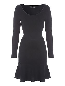 Black Trumpet Hem Jumper Dress