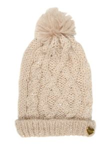 Sequin cable beanie hat