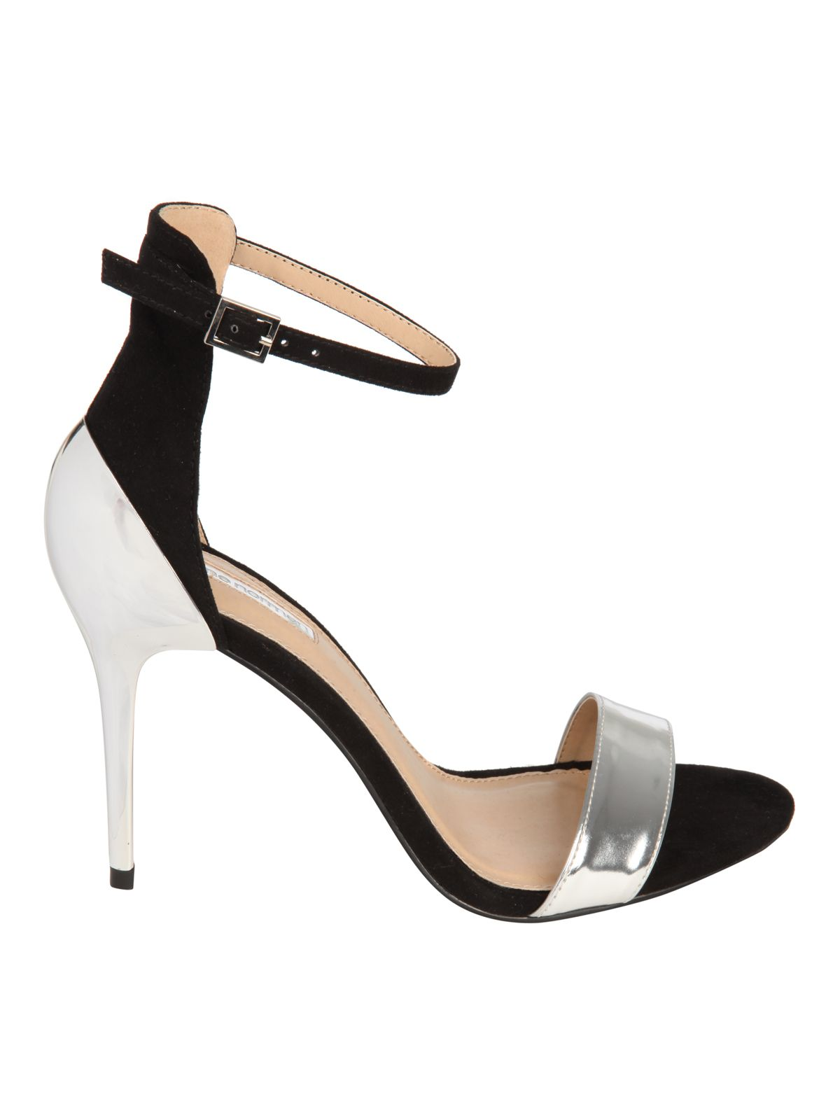 Metalic contrast heel sandals