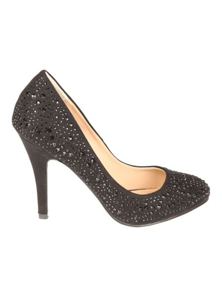 Jane Norman Black embellished court shoes