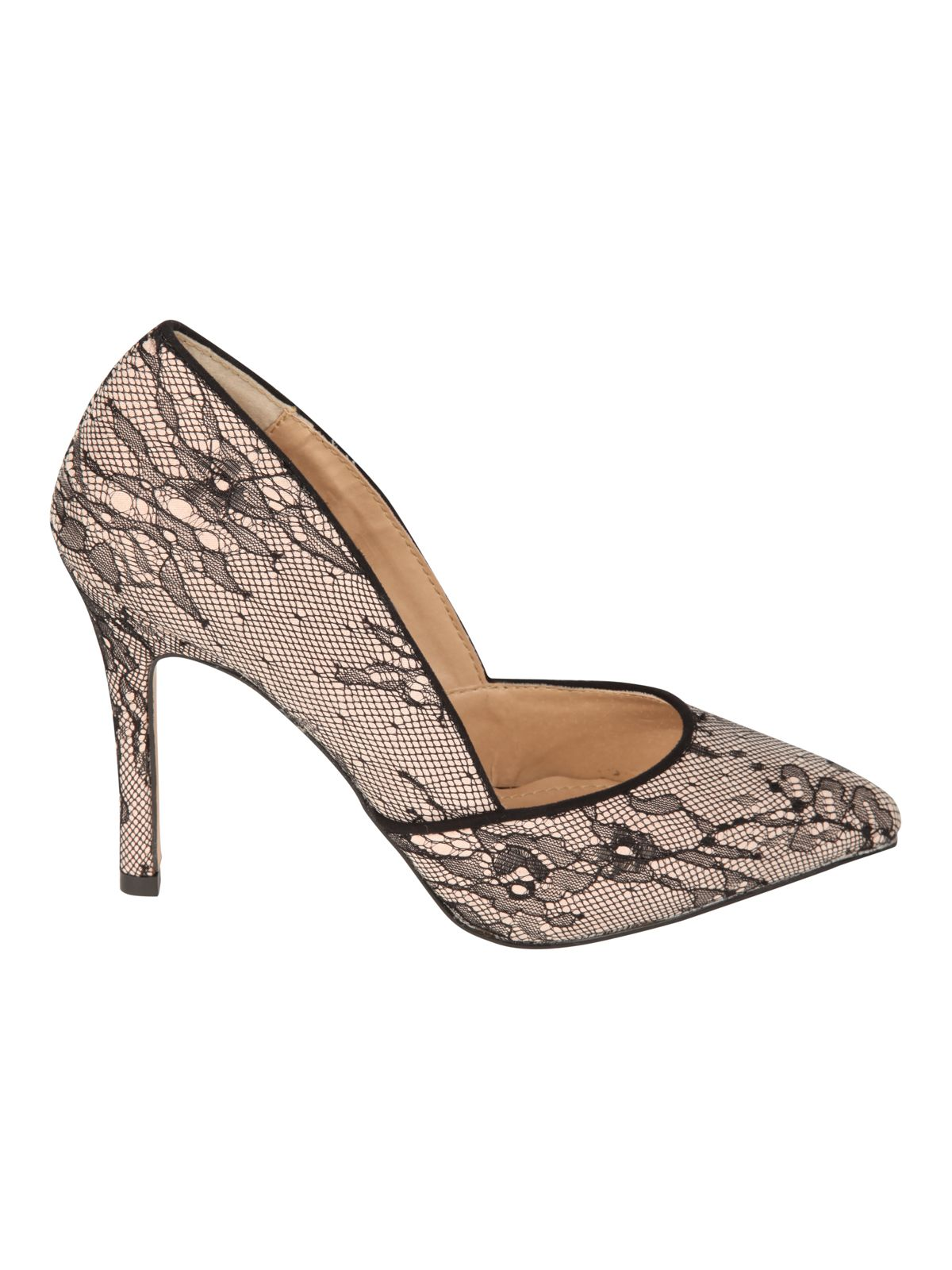 Lace pointed court shoe