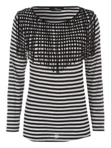 Jane Norman Long Sleeve Striped Fringe Jersey