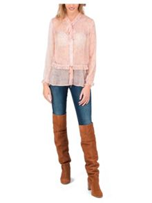 Jane Norman Pink Burnout Peplum Blouse Top