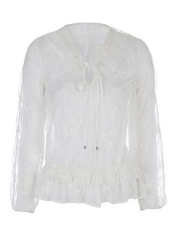 Ivory Emroidered Peplum Blouse Top