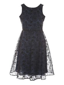 Jane Norman Navy & Black Embroidered Fit Flair Dress