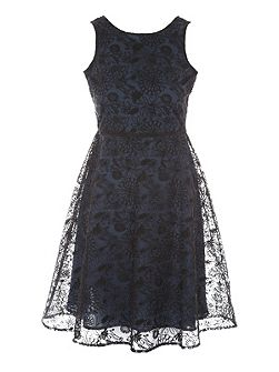 Navy & Black Embroidered Fit Flair Dress