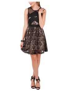 Black & Gold Corded Lace Prom Dress