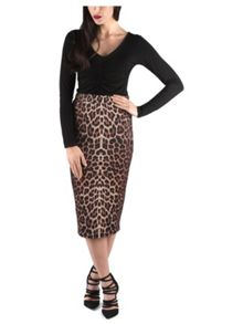 Animal Print Zip Pencil Skirt