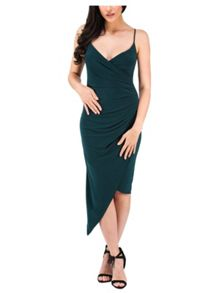 Jane Norman Green Strappy Wrap Front Dress