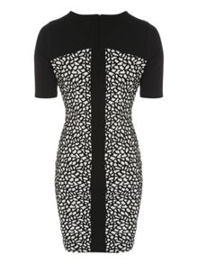 Jane Norman Black & White Animal Jacquard Zip Dress