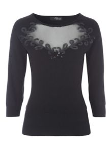 Black Mesh & Sequin Panel Jumper
