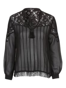 Jane Norman Black Lace Back Fringe Blouse Top