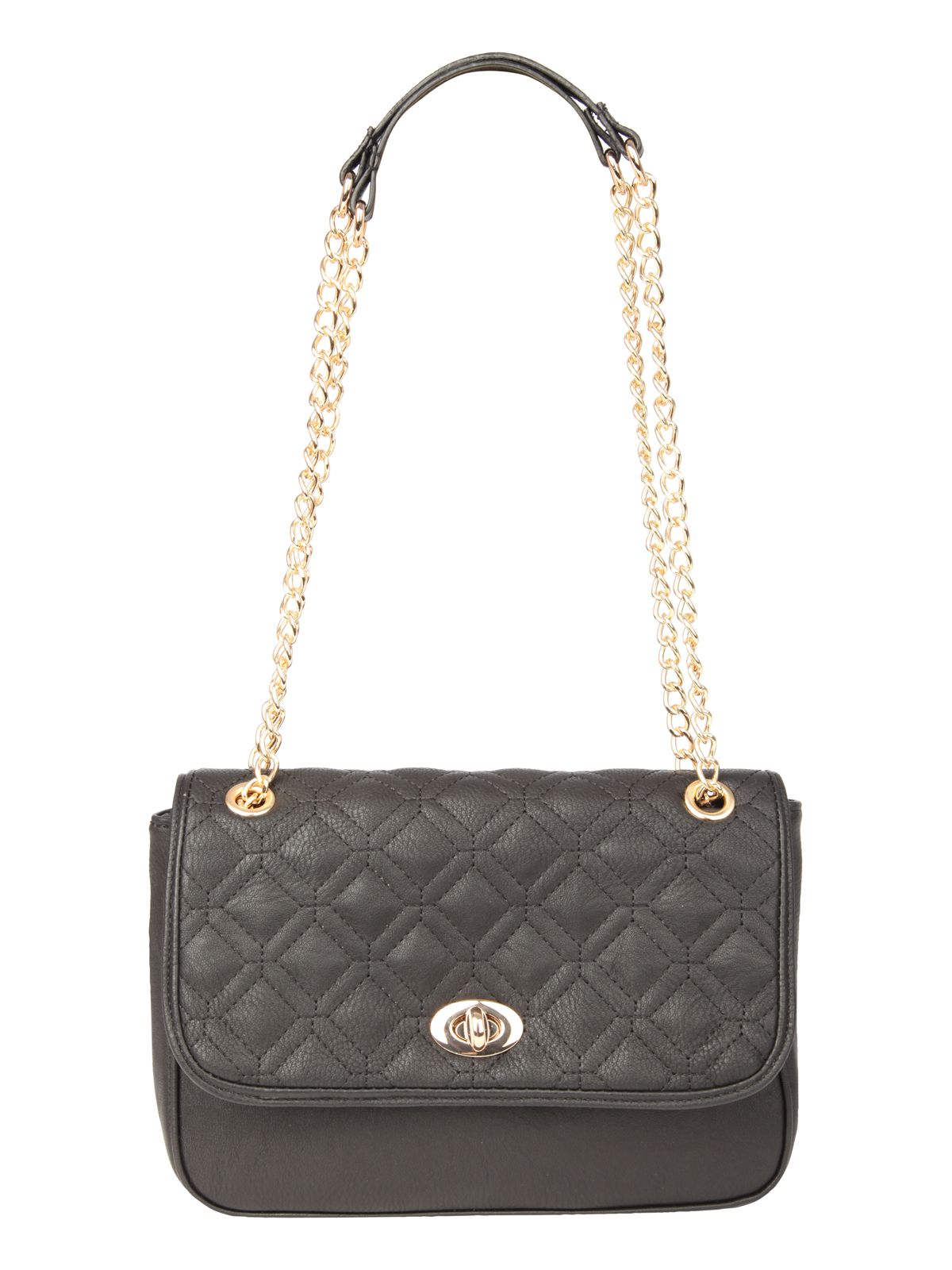 Quilted turnlock handbag
