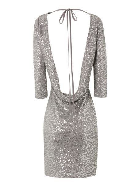 Jane Norman Sequin cowl back dress