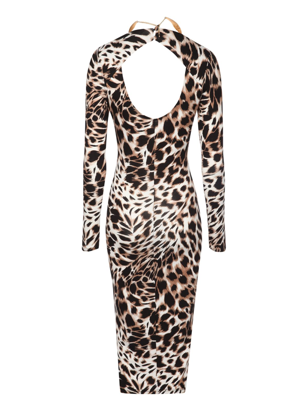 Animal print midi necklace dress