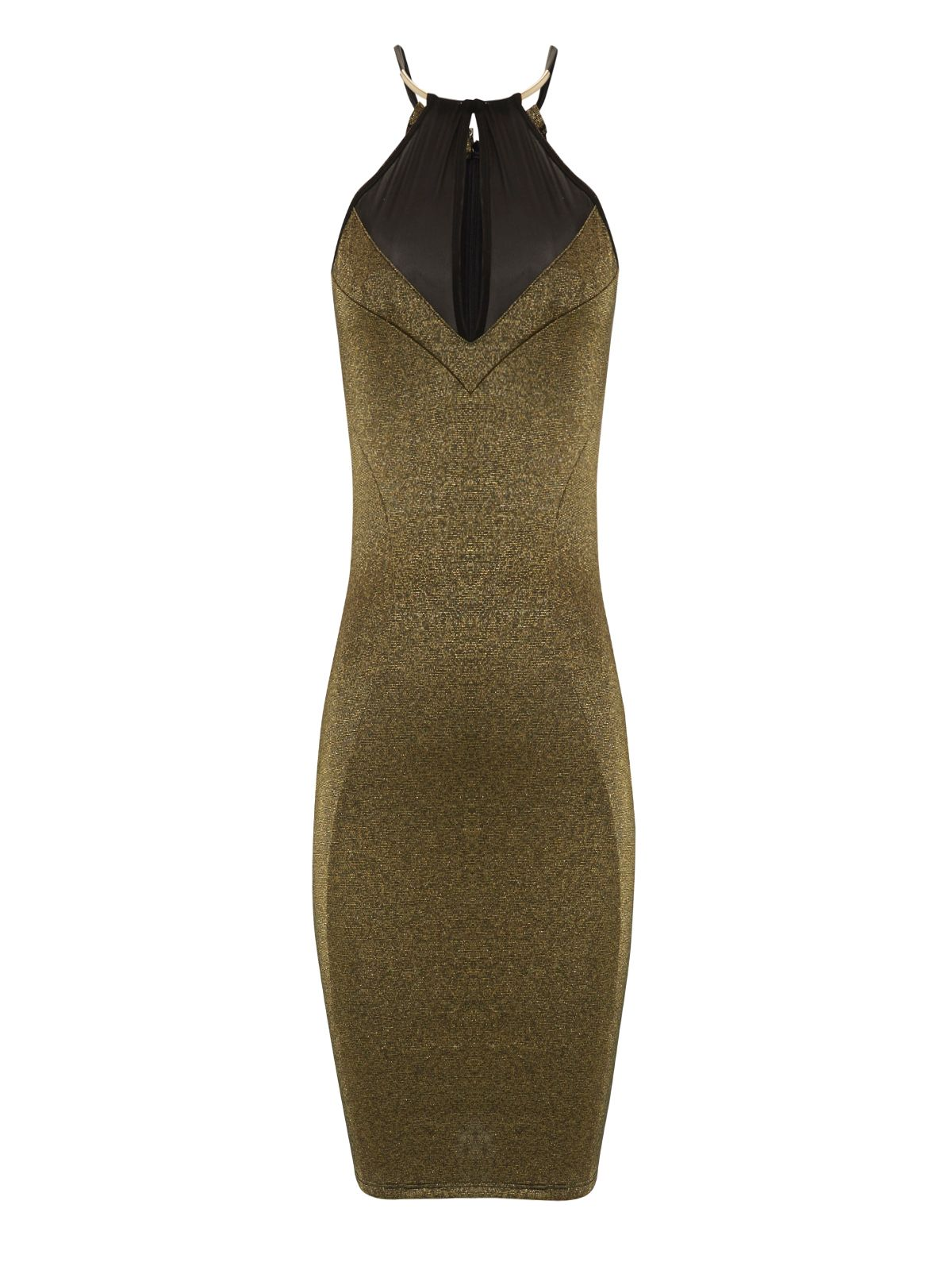 Gold metal trim bodycon dress
