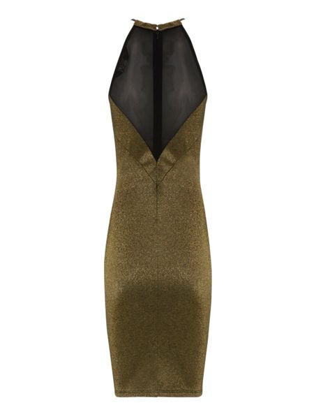 Jane Norman Gold metal trim bodycon dress