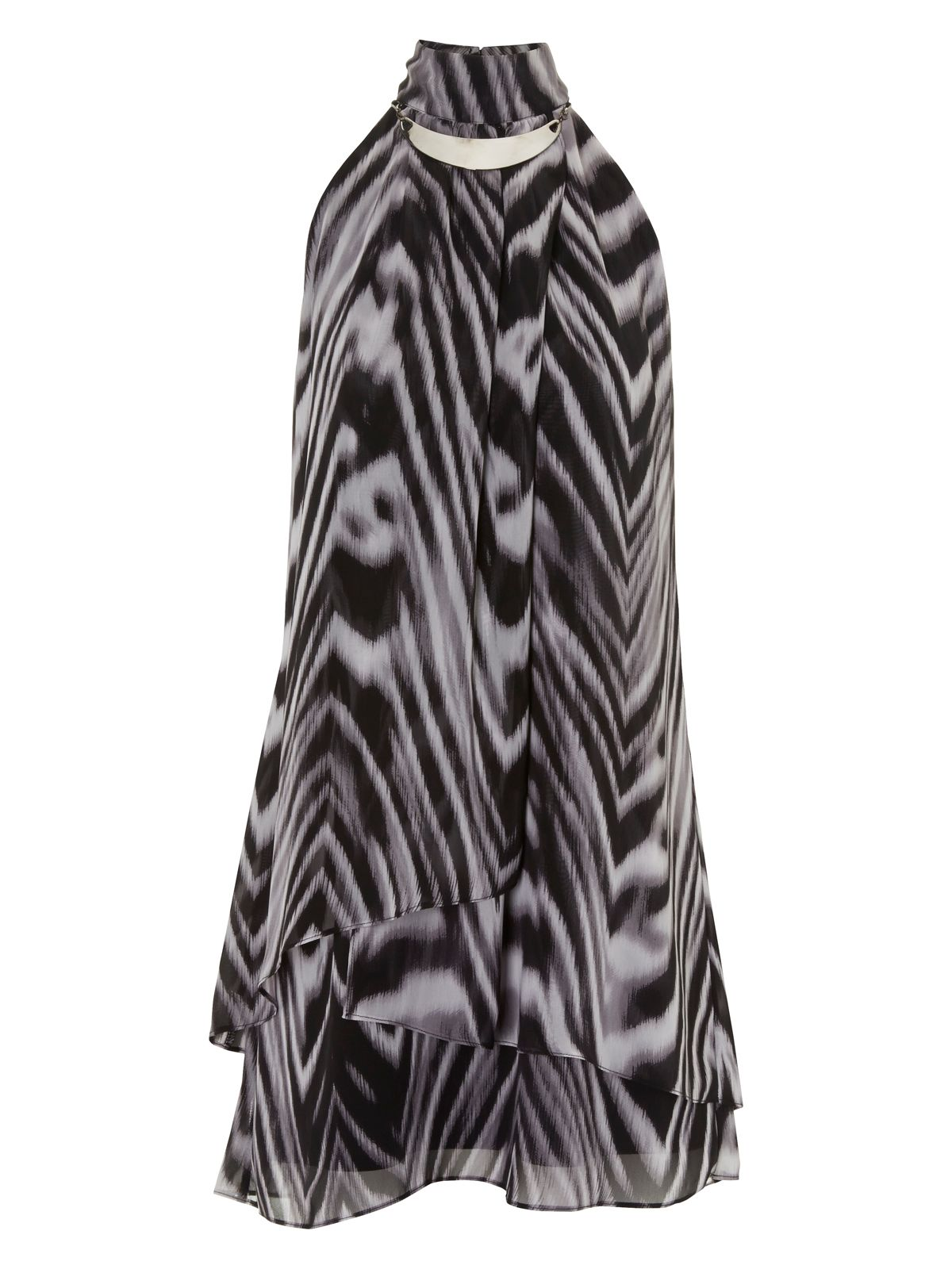 Animal print high neck dress