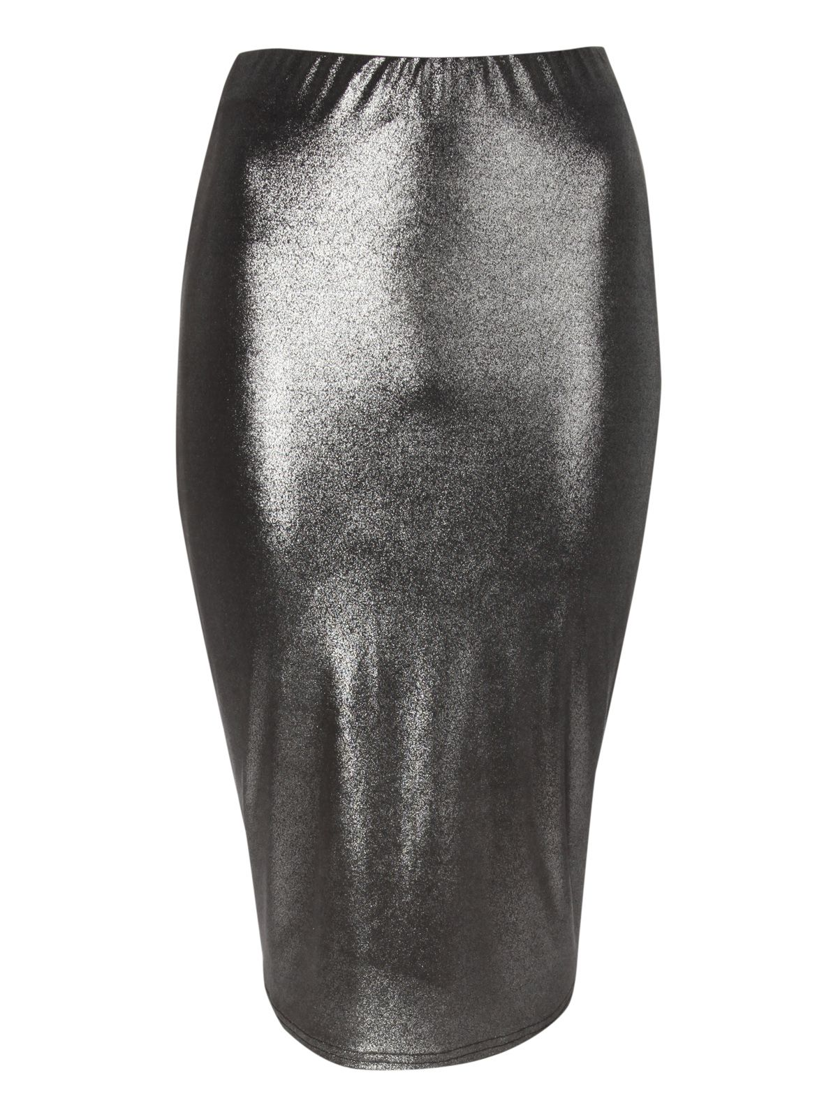 Metallic ruched back pencil skirt