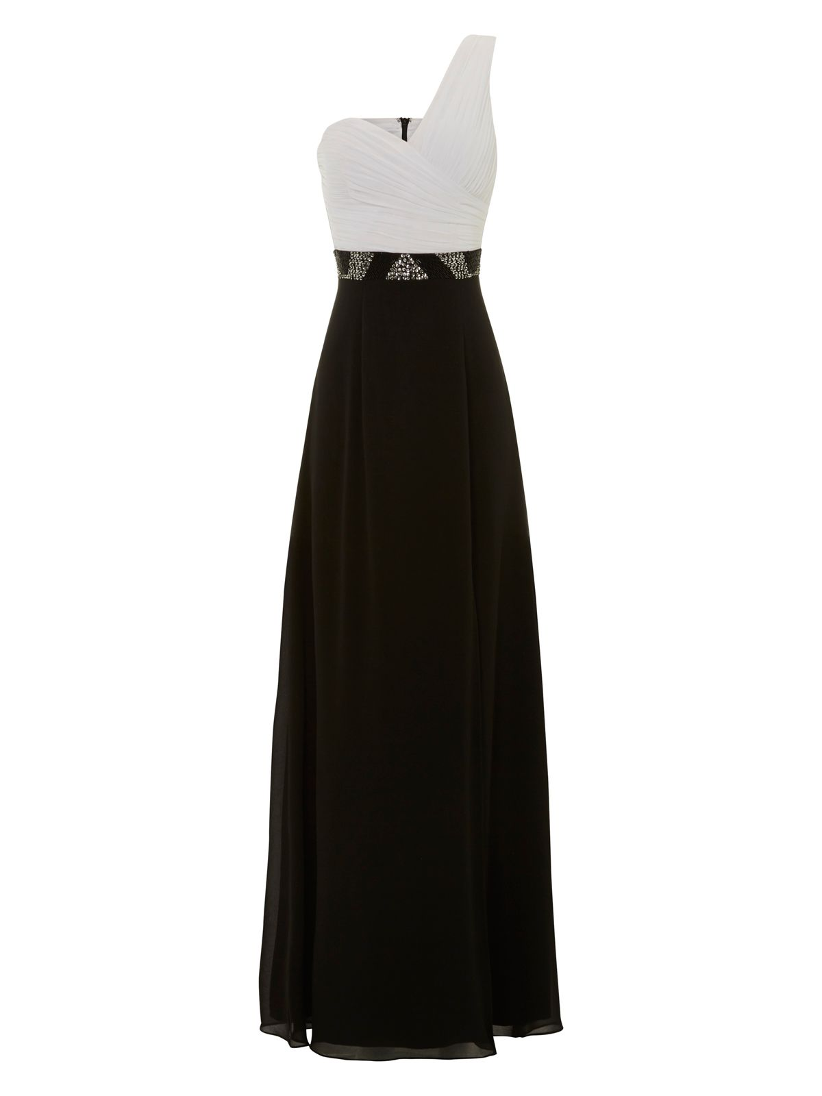Monochrome one shoulder maxi dress