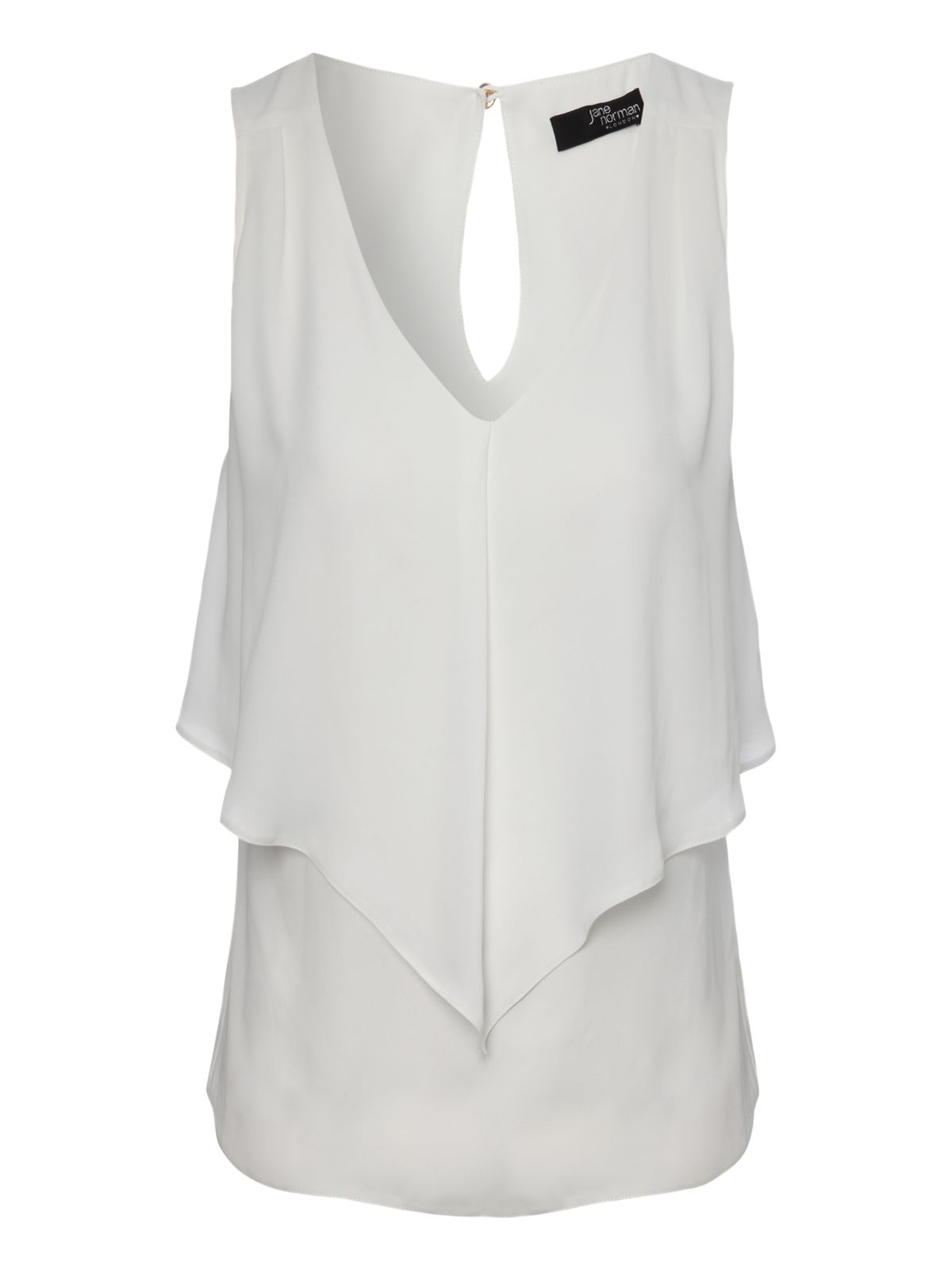 Sleeveless frill overlay blouse