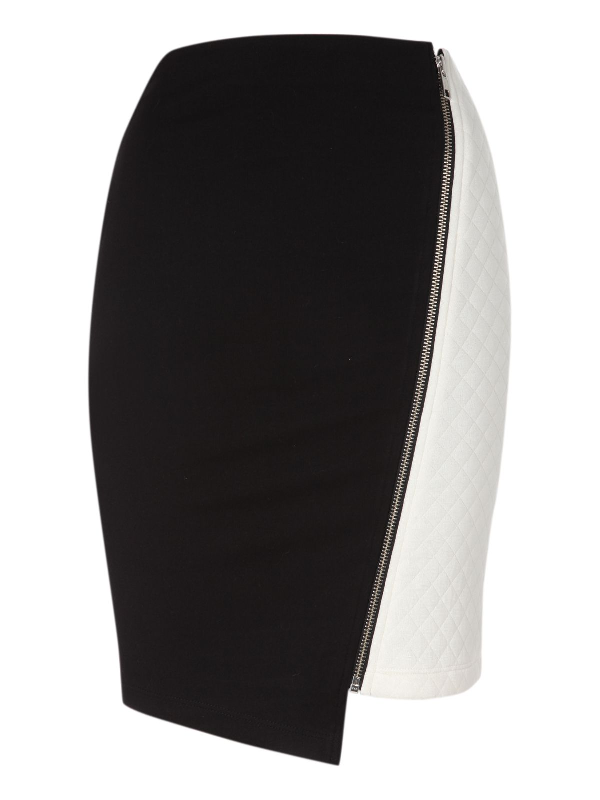 Asymmetric zip detail quilted mini skirt