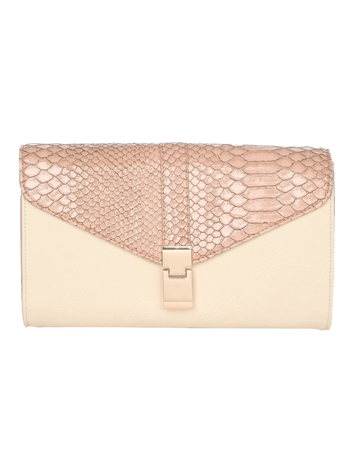 Nude block clutch bag