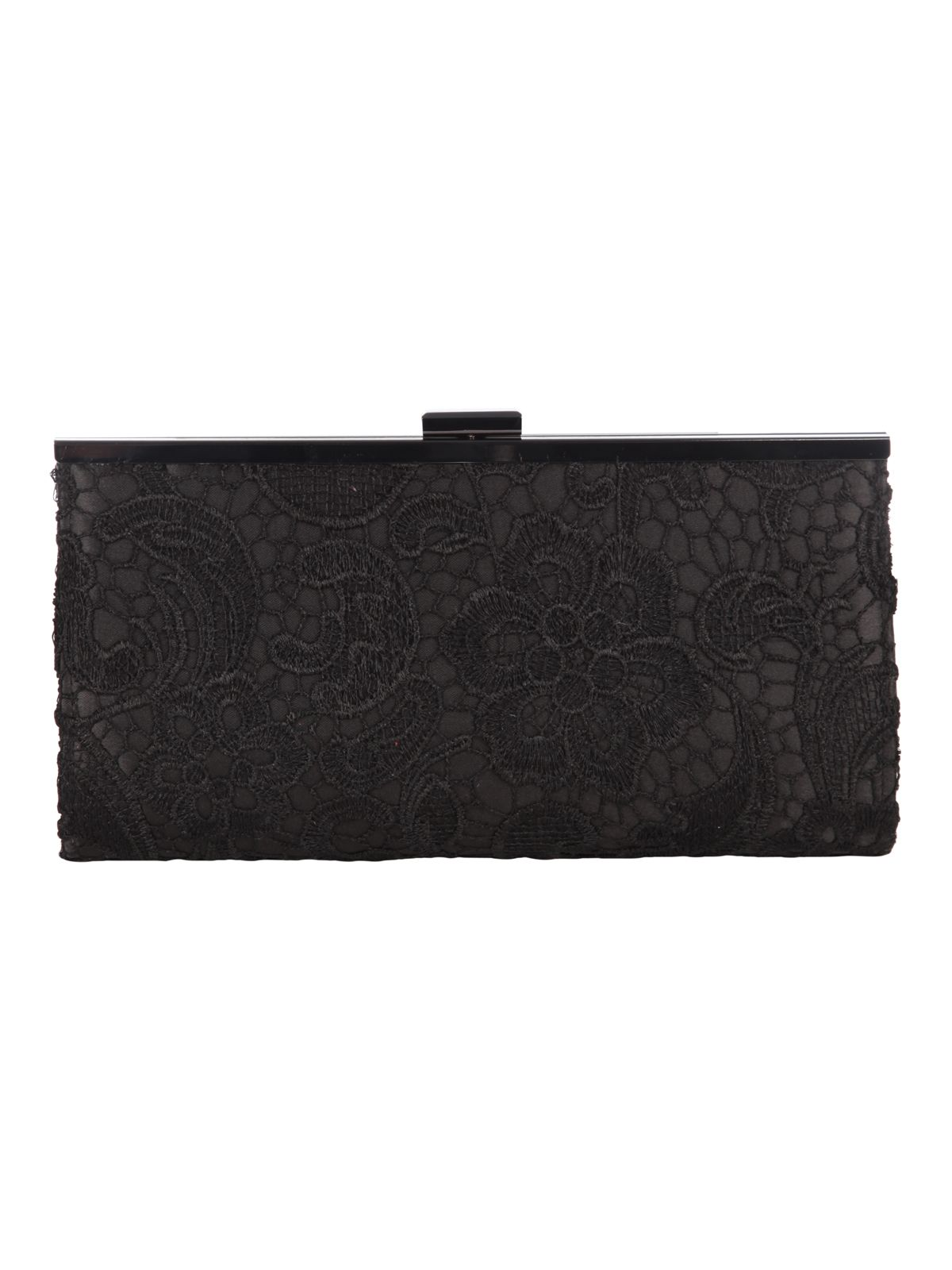 Black Lace Overlay Clutch Bag
