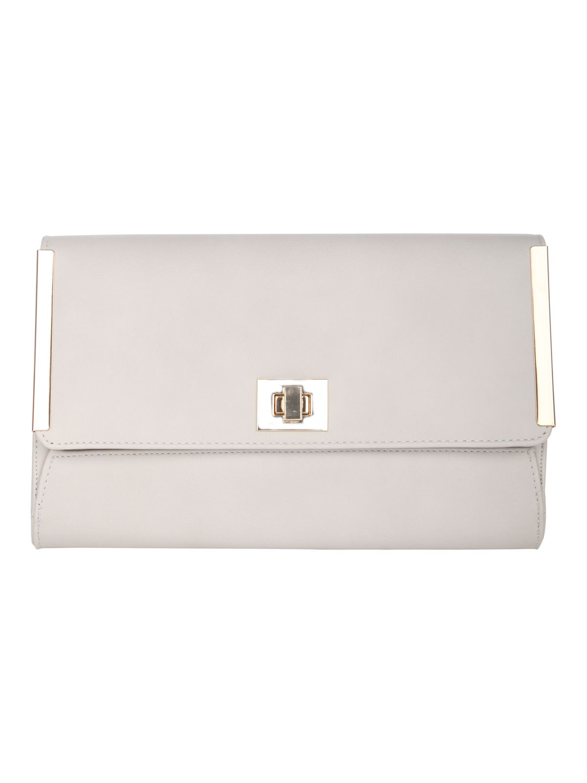 Twist lock metal trim clutch bag