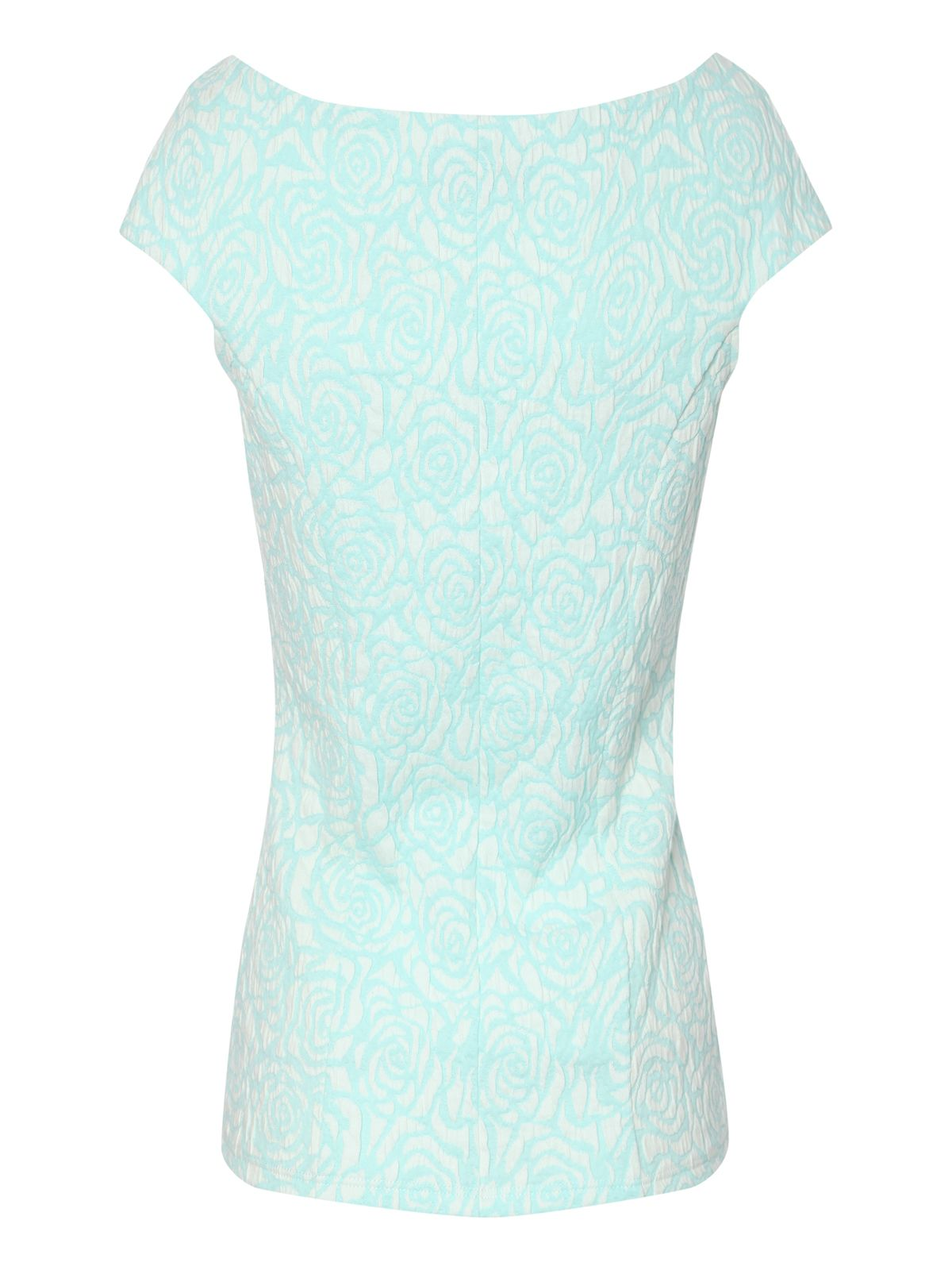 Rose jacquard cap sleeve top