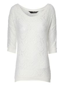 Lace Batwing 3/4 Sleeve Top