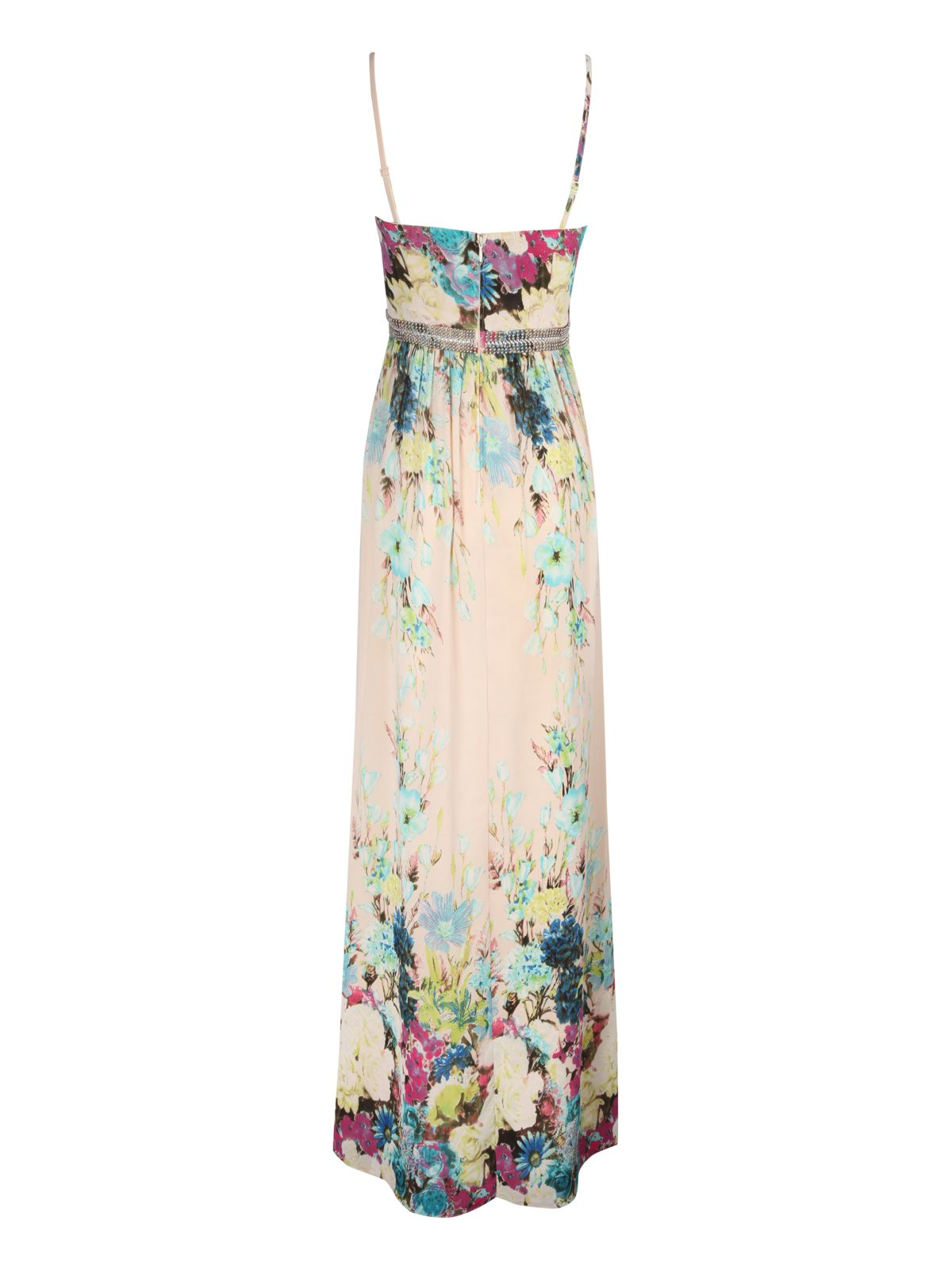 Floral print embellished maxi dress