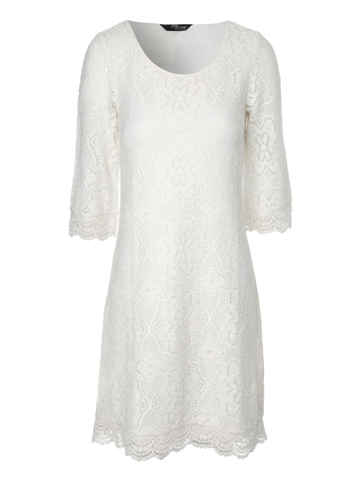 3/4 sleeve crochet shift dress