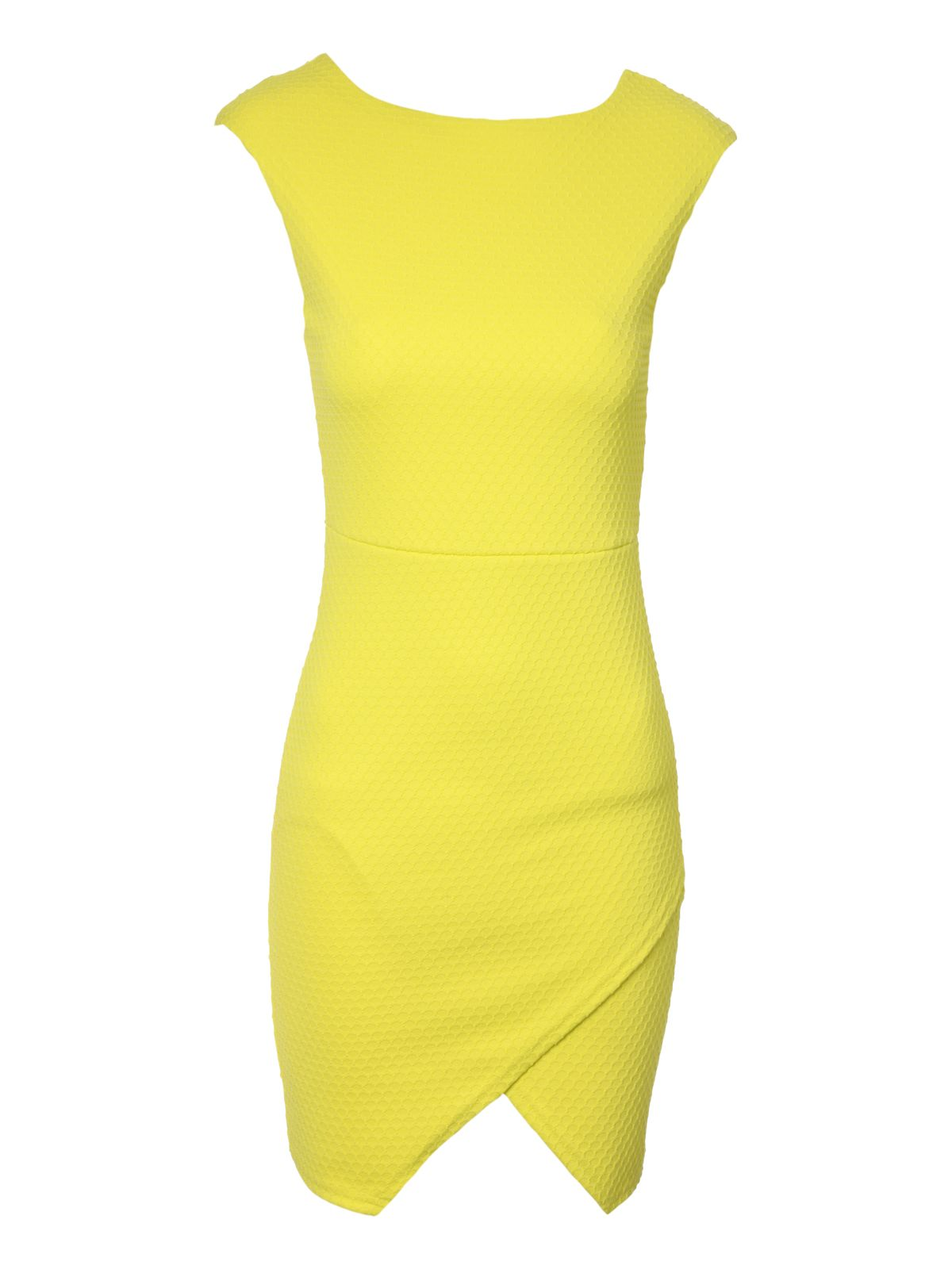 Textured Neon Wrap Asymmetric Dress