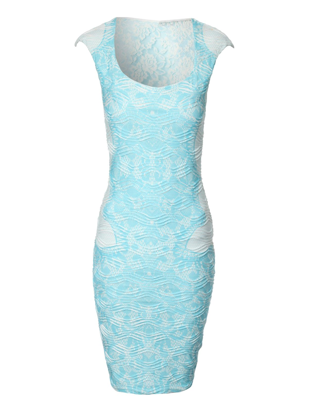 Printed Lace Detail Bodycon Dress