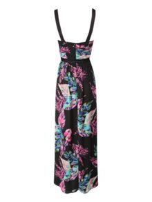 Pleated bust floral maxi dress