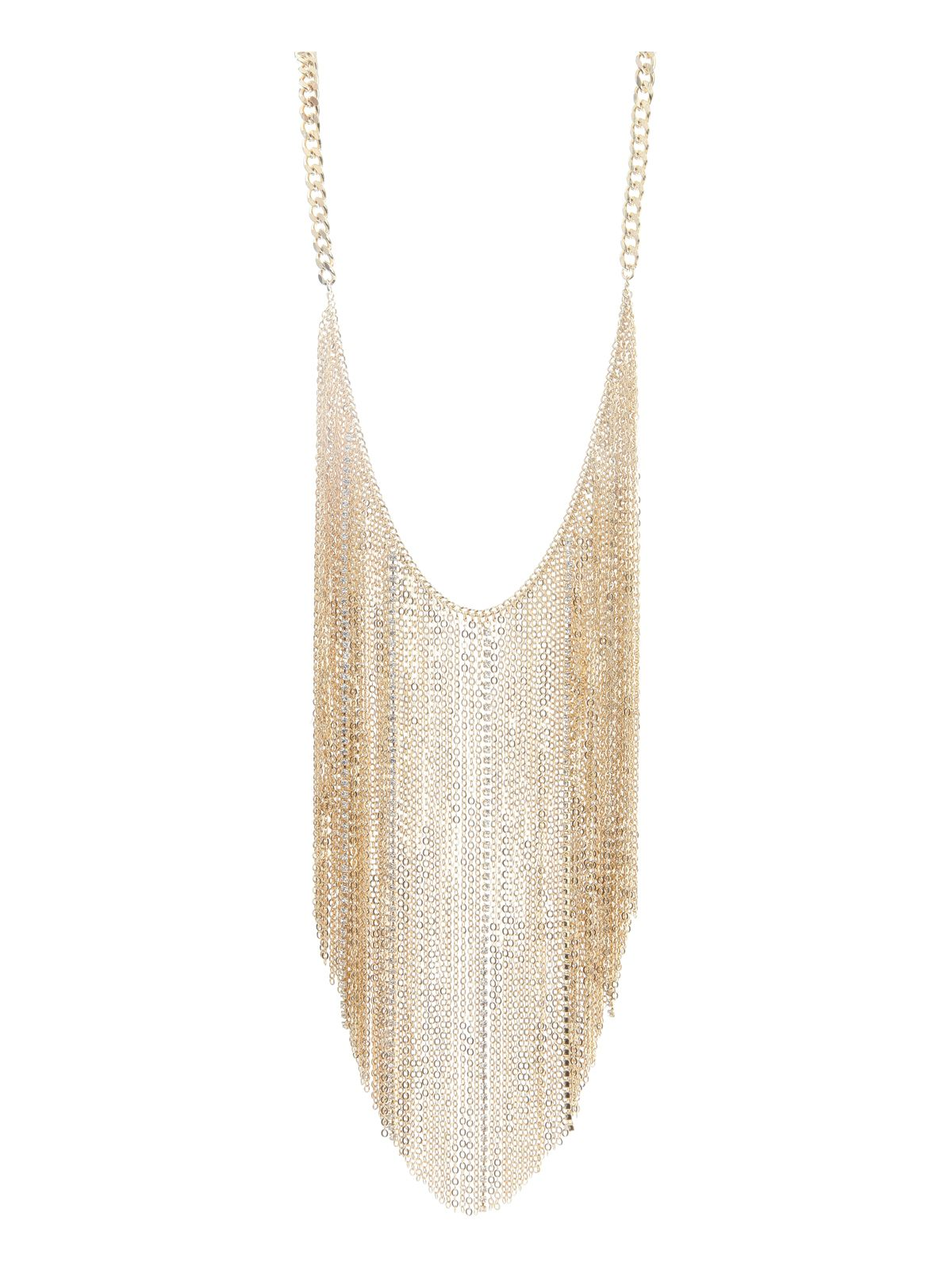 Gold Statement Fringe Necklace