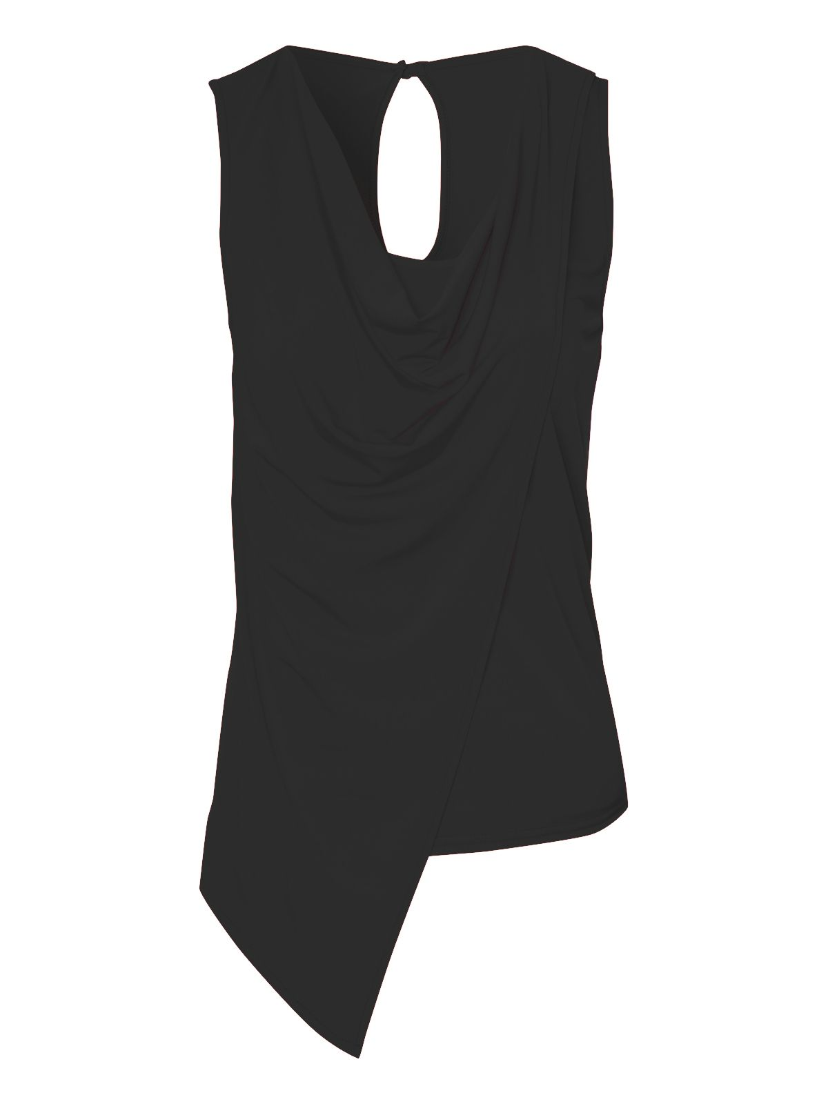 Asymmetric cowl neck sleeveless top