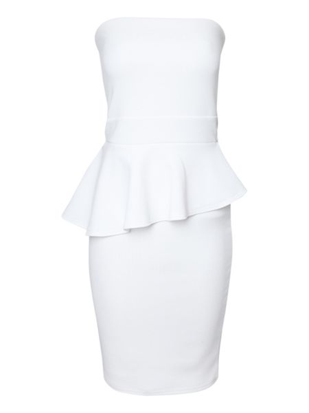 Jane Norman Asymmetric strapless peplum dress