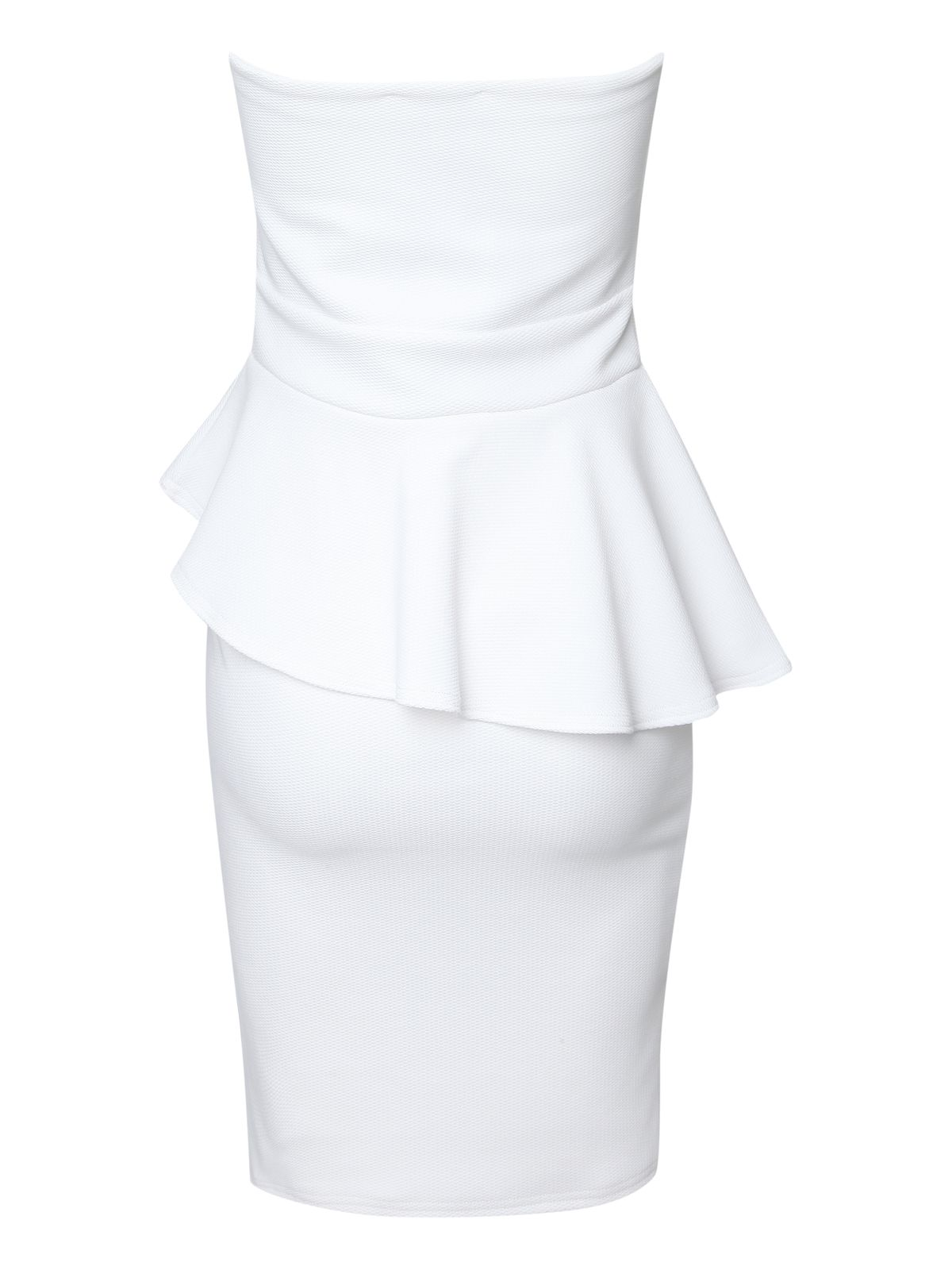 Asymmetric strapless peplum dress
