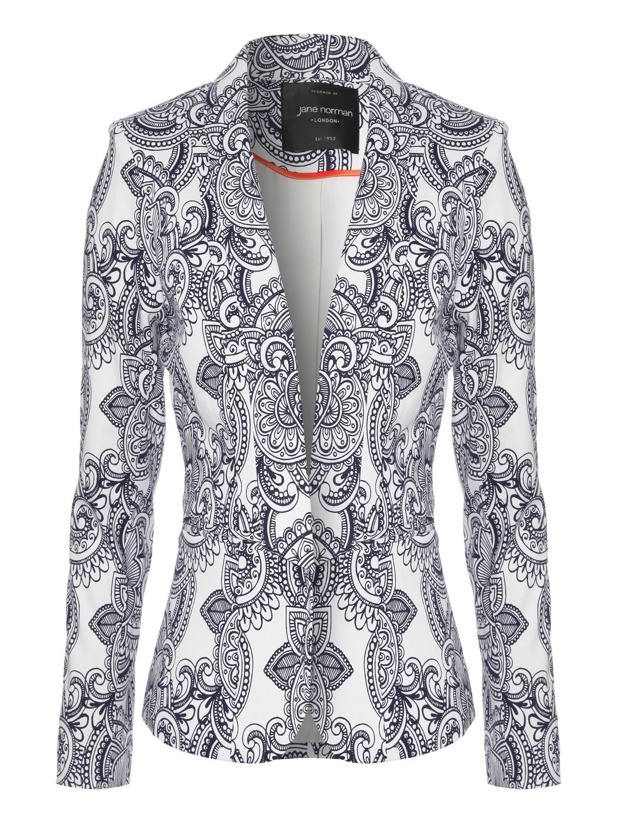 Paisley print tailored blazer jacket