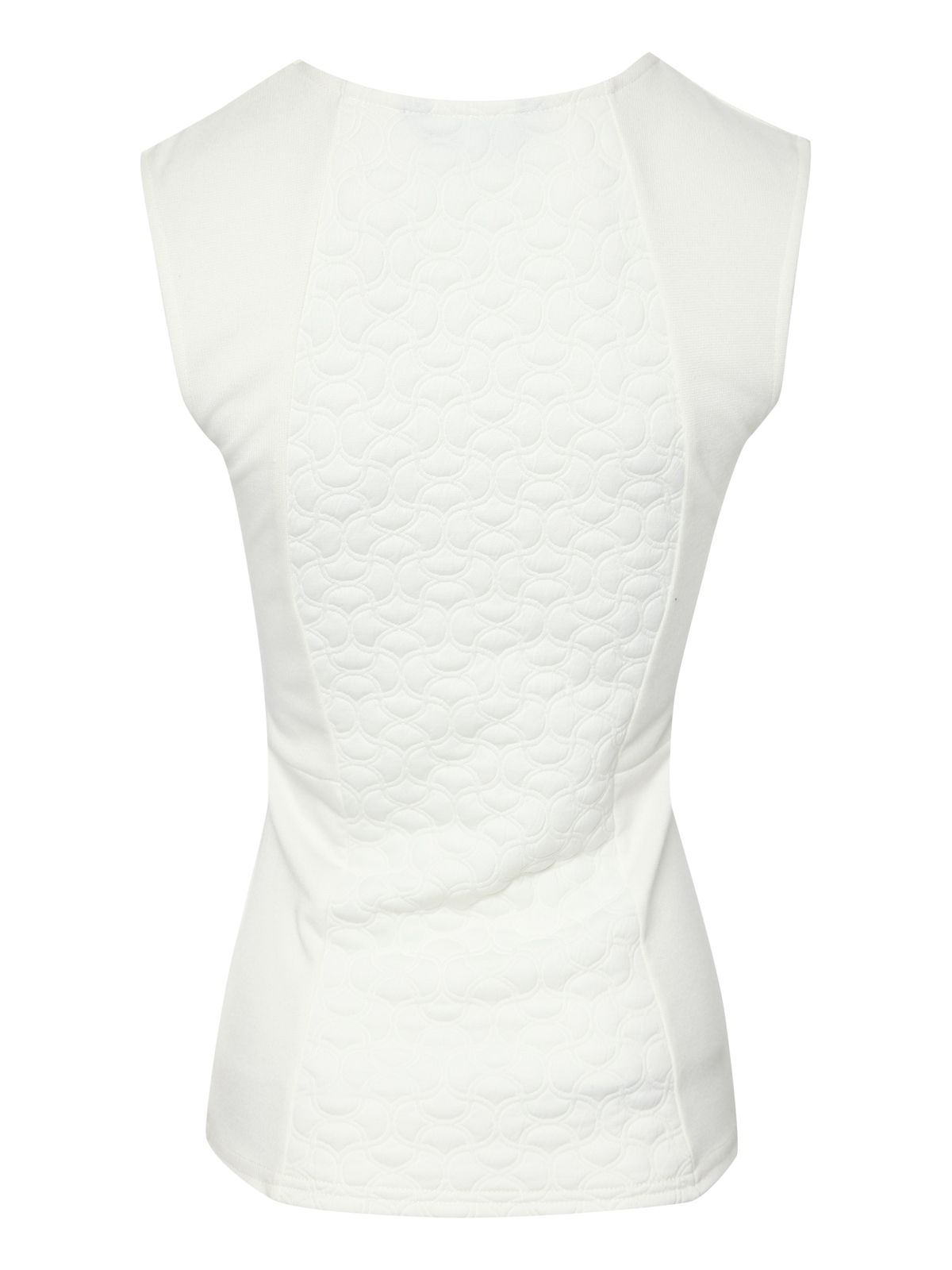 Sleeveless textured illusion panel top