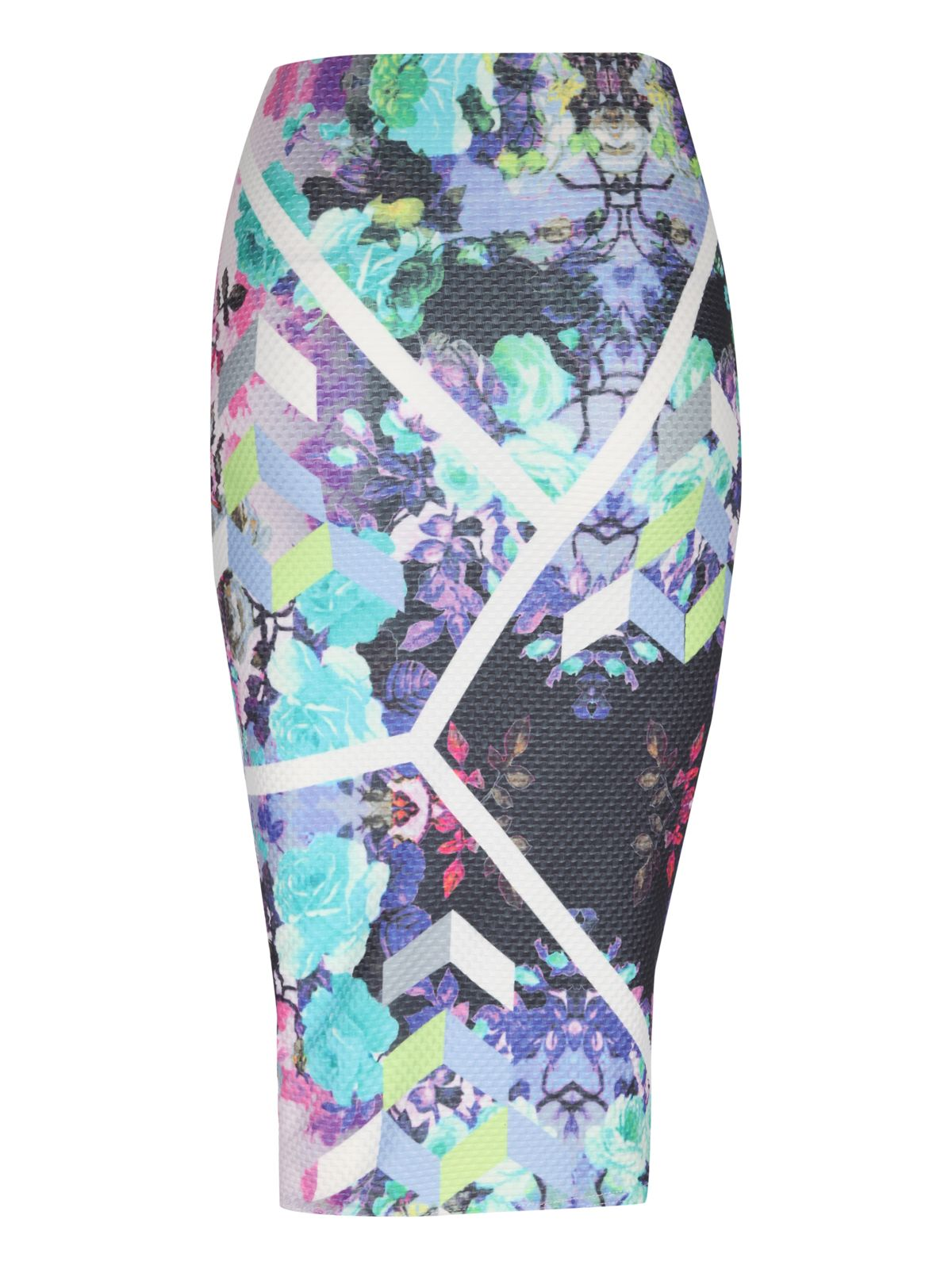 Textured print floral midi pencil skirt